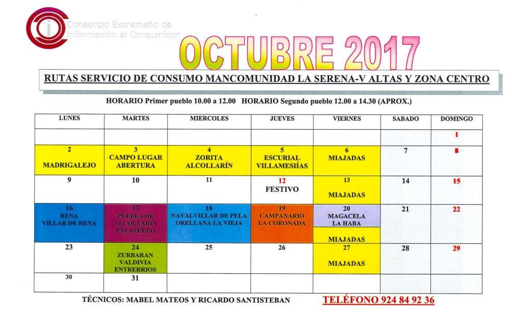 oficina de consumo calendario octubre 2017