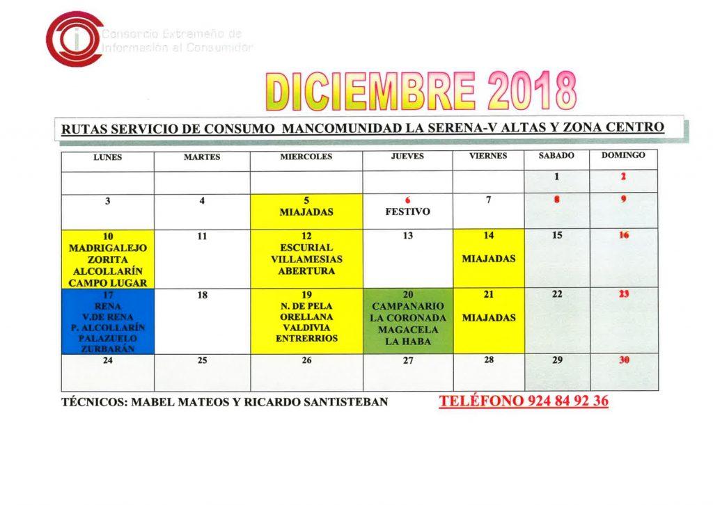 Calendario Diciembre.Oficina De Consumo Calendario Diciembre 2018