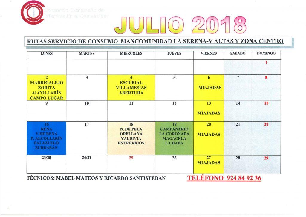 Julio Calendario.Oficina De Consumo Calendario Julio 2018 Mancomunidad De