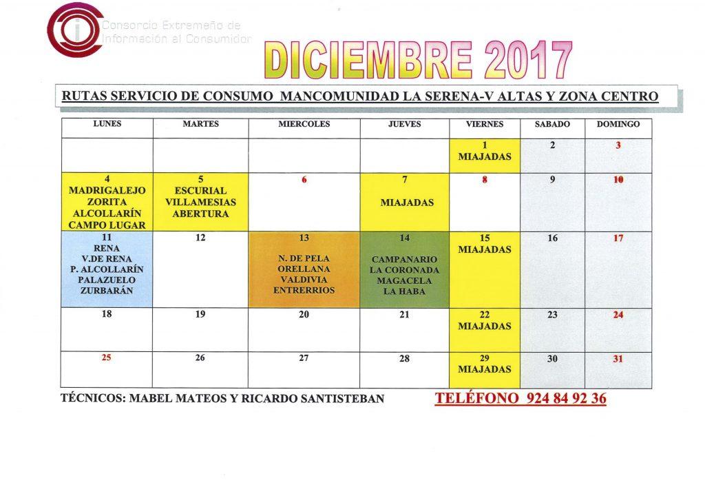 oficina de consumo calendario diciembre 2017