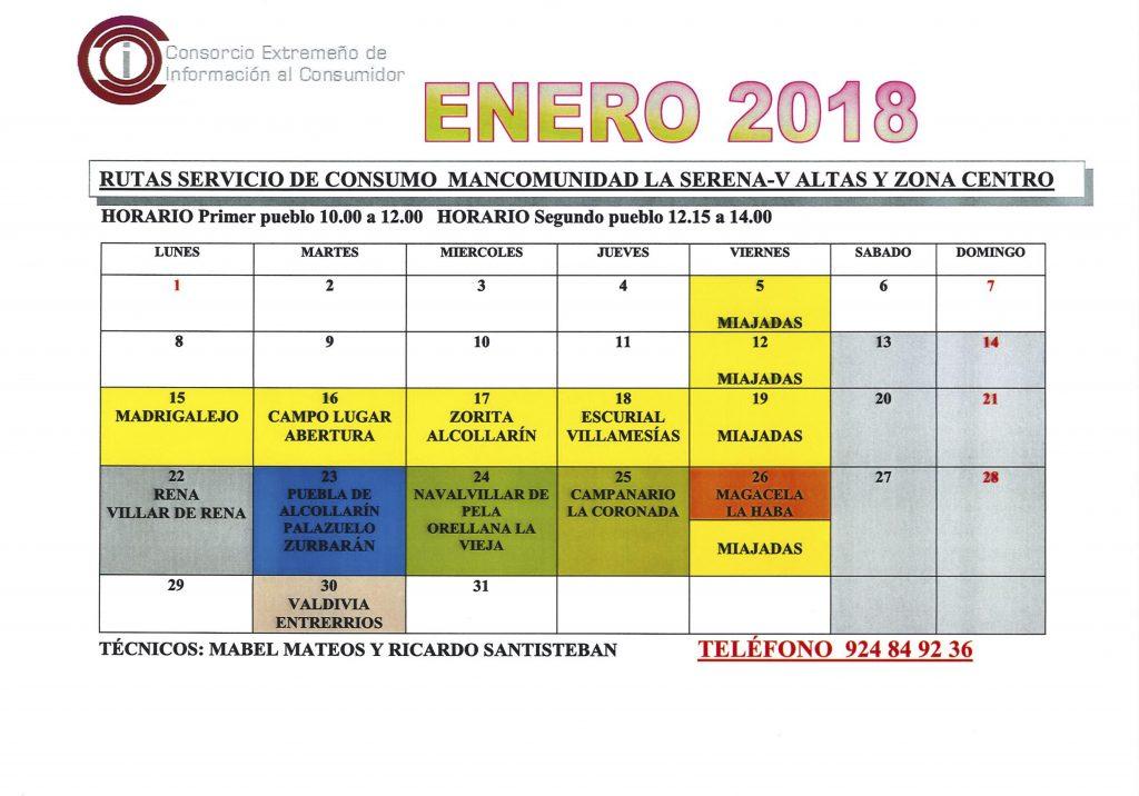 oficina de consumo calendario enero 2018 mancomunidad
