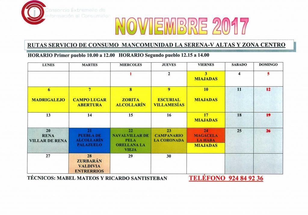 oficina de consumo calendario noviembre 2017