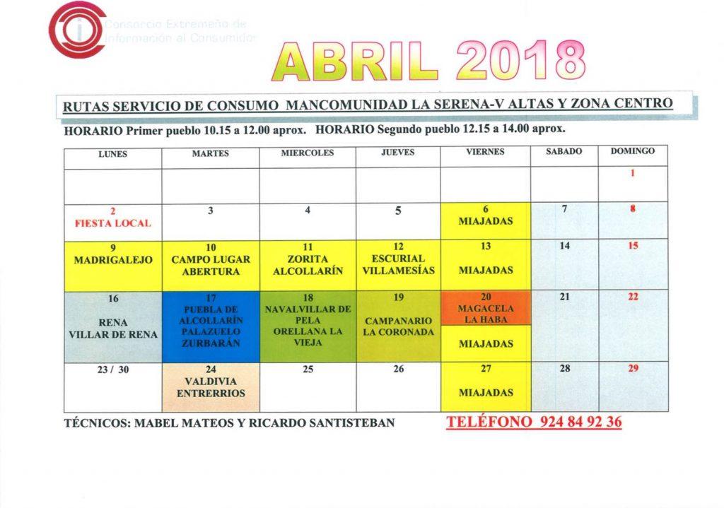 oficina de consumo calendario abril 2018 mancomunidad