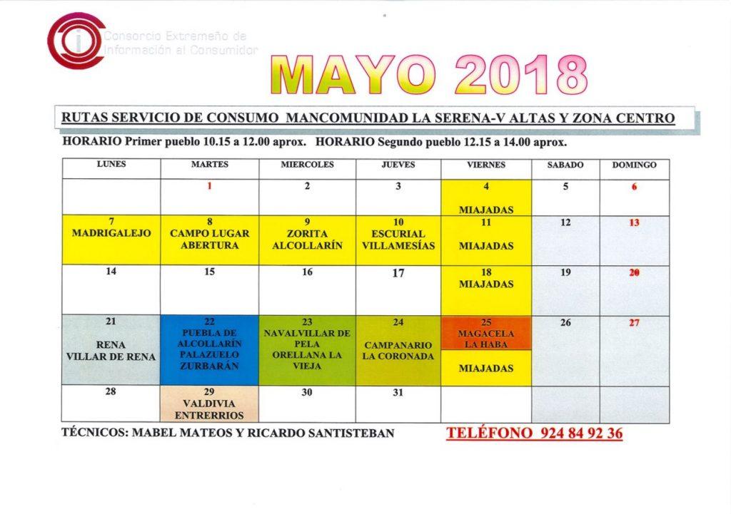 oficina de consumo calendario mayo 2018 mancomunidad