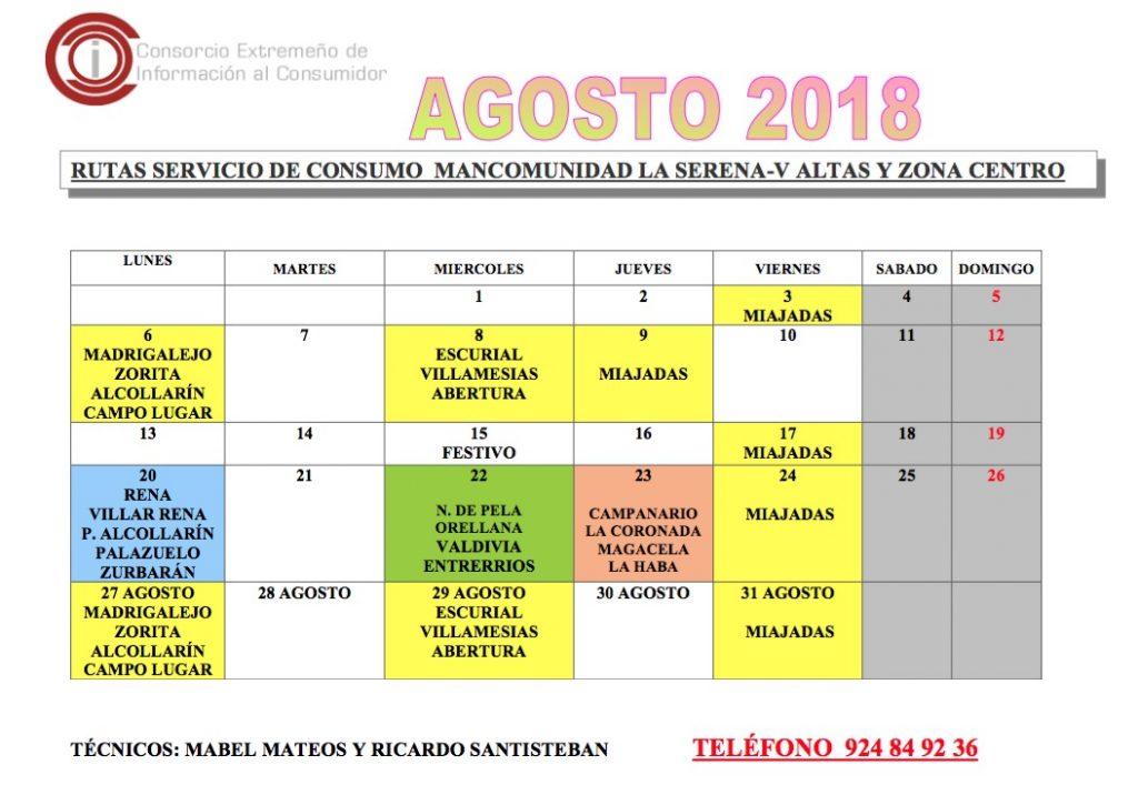 Oficina de Consumo – calendario agosto 2018