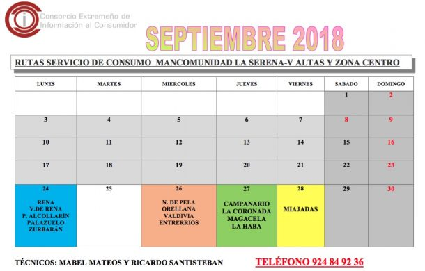 Oficina de Consumo – calendario septiembre 2018