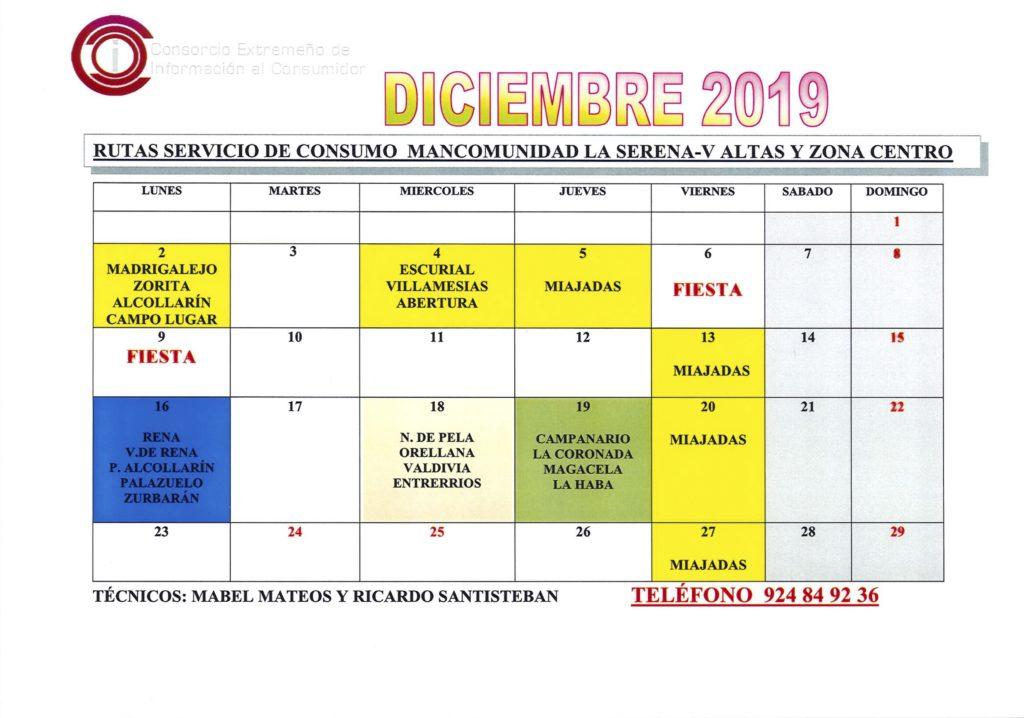 Oficina de Consumo – calendario diciembre 2019
