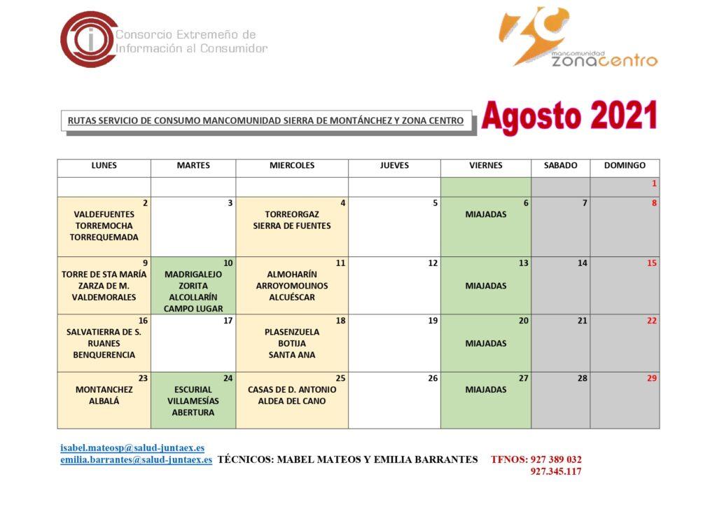 Calendario Rutas AGOSTO 2021